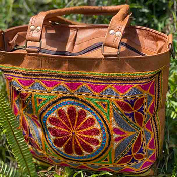 Tan Leather Embroidered Tote Bag