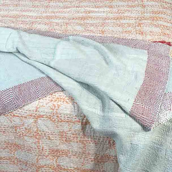 Apricot Block Print Kantha Quilt Queen/King