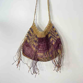 Tribal Telefomin Bilum - Purple - Natural- Hand Woven