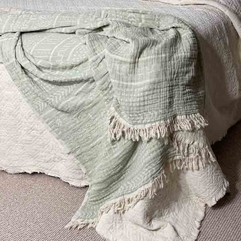 Cotton Throw Blanket Coastal Beauty - Mint - Yummy Linen