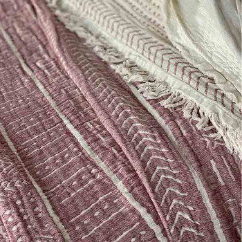 Cotton Throw Blanket Coastal Beauty - Dusty Rose  - Yummy Linen