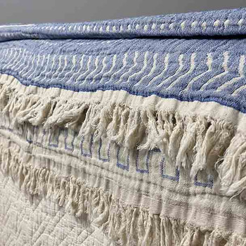 Cotton Throw Blanket Coastal Beauty - Sky Blue - Yummy Linen