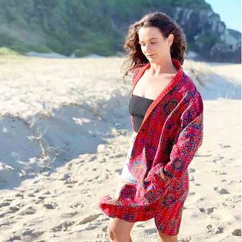 Cotton Boho Hippy Long Coat - Scarlet - Yummy Linen