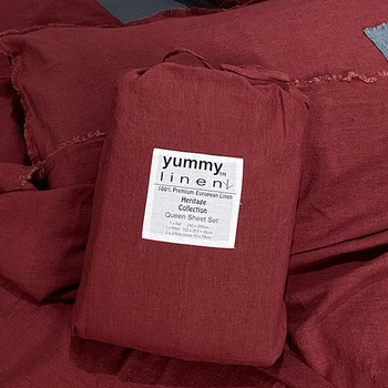 Linen Fitted Sheet - Heritage Linen Collection - Queen Size - Wine