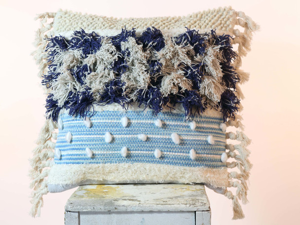 Boho Cotton and Wool Tassel Pillow BLUE 50 x 50 cm