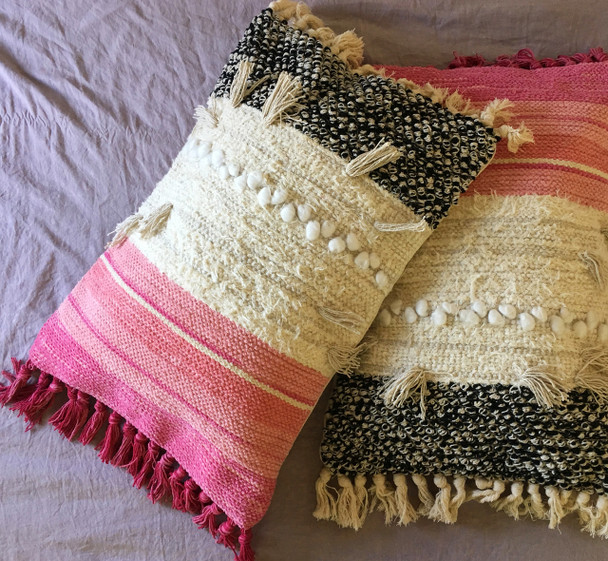 Indian Cotton Boho Pink Pillow Tassel Cushion