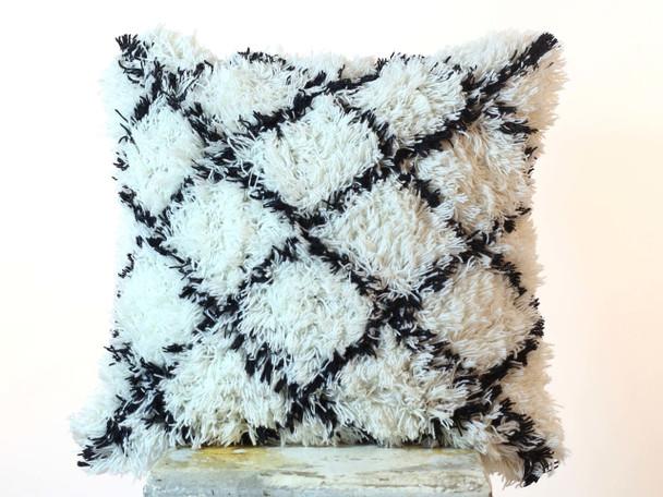 Cushion Cover Indian Boho Black & White Shaggy Pillow