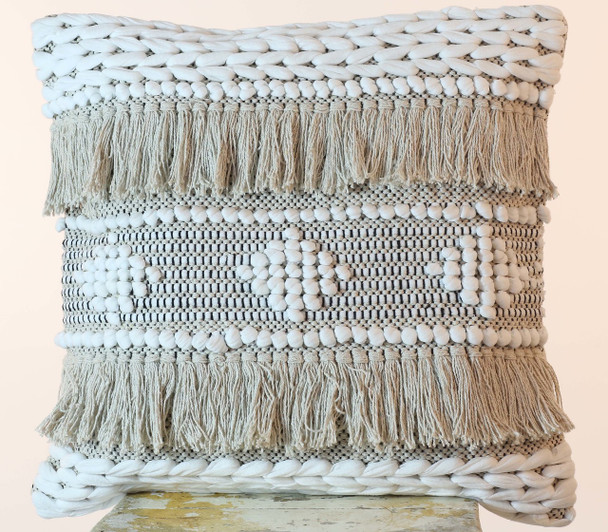 Cotton Shaggy 50 cm Hand Loomed Cushion Cover
