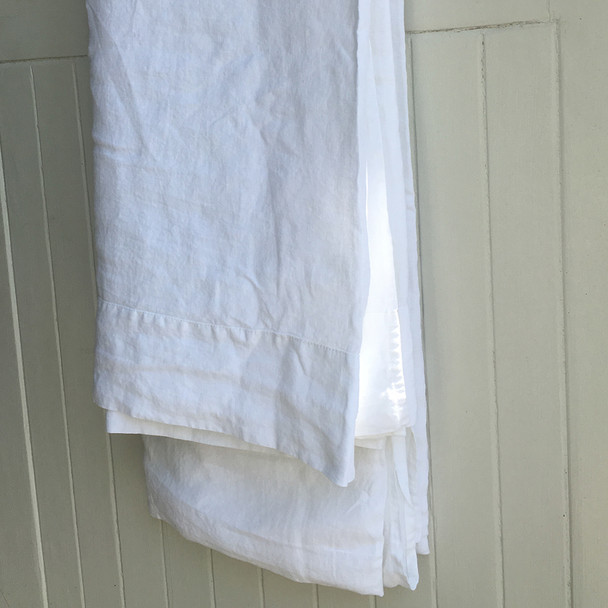 Farmhouse look white linen flat sheet