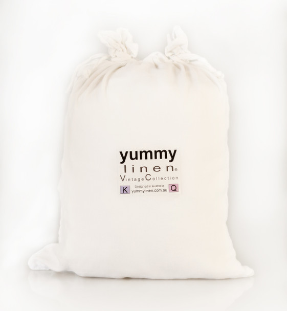 Yummy Linen White Linen packaging. Showing the white French Linen packaging sac.