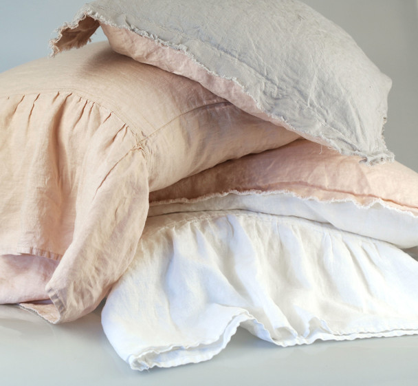100%Pure French Flax Linen Long Ruffle Pillow Cases.
