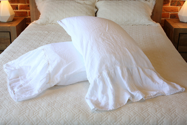 Cottage style White Long Ruffle Pillow Cases