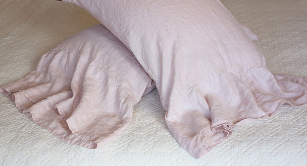 Cottage style Salmon Pink Long Ruffle Pillow Cases