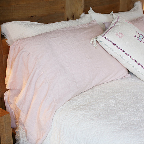 Salmon Pink Long Ruffle Cottage style Pillow Cases