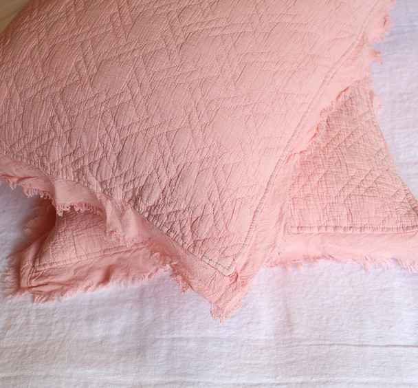 Musk Pink Queen size Vintage style coverlet with matching pillowcases and frayed cotton crepe edging.