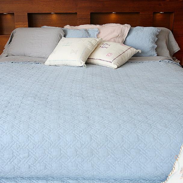 Cotton Coverlet Blanket Bedspread Blue K/Q - Vintage Style