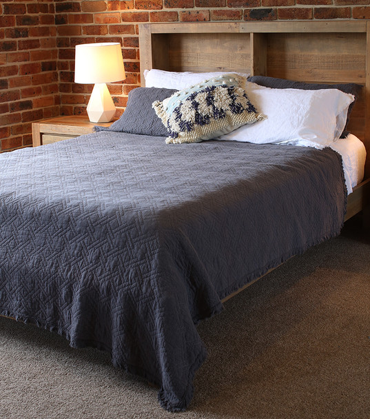 Queen Quilted Cotton Coverlet Blanket Charcoal