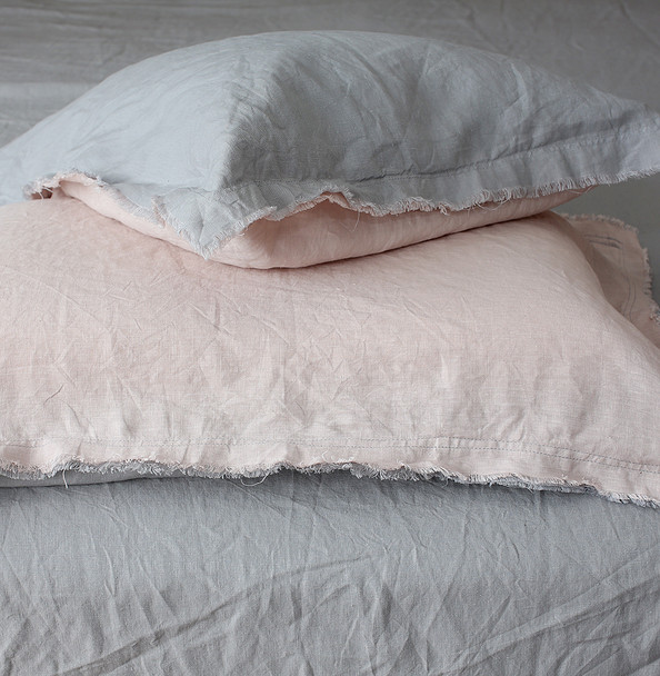 Linen pillow cases by Yummy Linen pink and grey