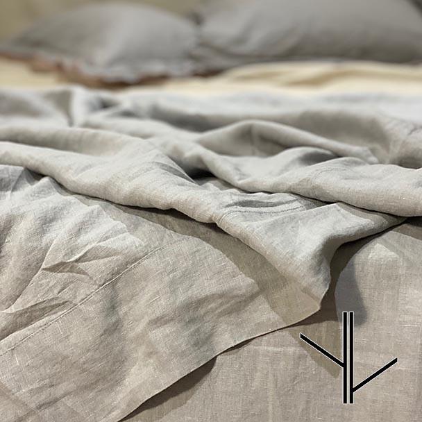 French Linen Top Sheet Grey - Queen - Yummy Linen