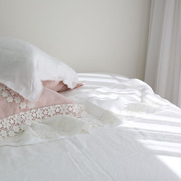 Linen & Lace White Queen Bed  Sheet Set- Yummy  Linen