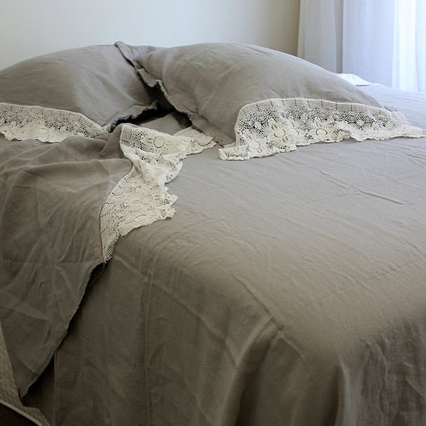 French flax linen and lace grey queen size bed set by Yummy Linen.