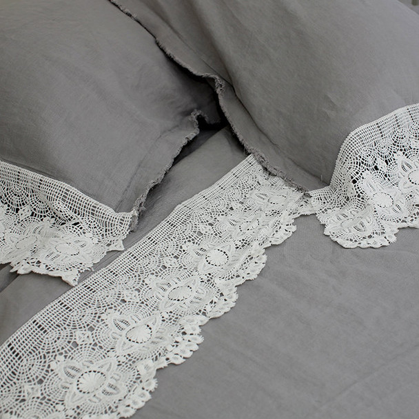 Wide cotton lace with French linen queen bed sheet set.