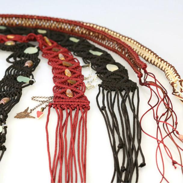 Macrame Sea Glass Hand Made Belt Maroon Colour