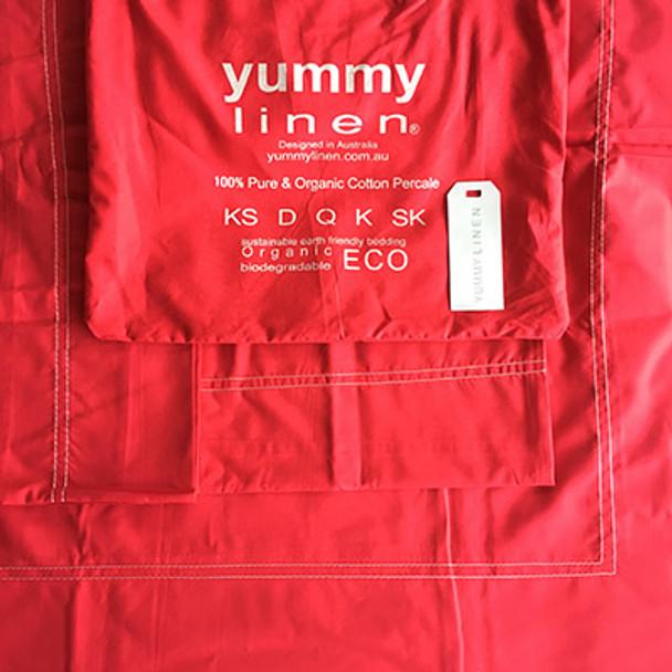 Organic Cotton Bedding 650 Count - Crimson -Double Quilt set - Yummy Linen