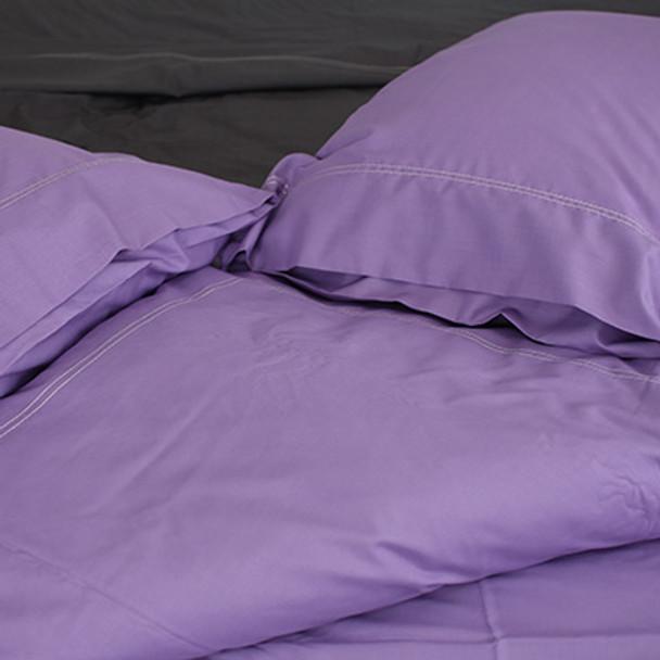 100% Organic Cotton 650 Count Queen Quilt Set- Lilac- Yummy Linen