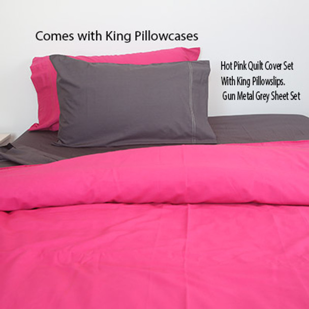 100% Organic Cotton 650 Count King Quilt Set- Hot Pink-