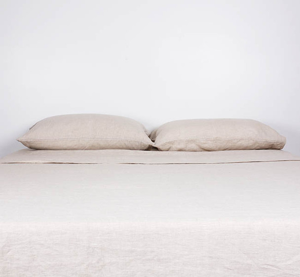 Luxury Bed Linen - Pure Flax Linen Sheets - Natural Taupe Colour Queen