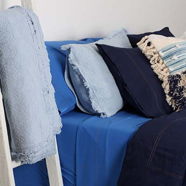 A selection of Blue King Bed sheets and King Size Navy Blue Doona Cover Set, coupled with the baby blue cotton coverlet in King size.