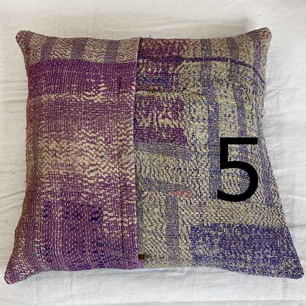 A mixture of purple hues form the vintage textured cotton cushion cover from 40 year old cotton cloth. Slow fasion style.