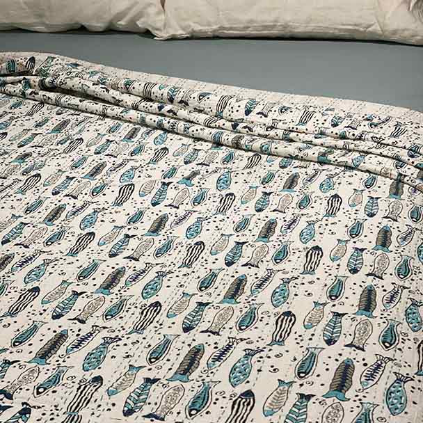 Kantha Cotton Queen Size Quilt - Ati Sundar - Fish