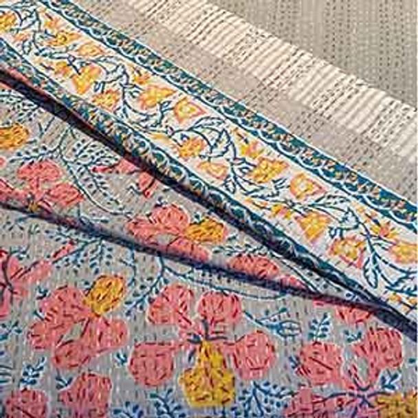 Kantha Queen Quilt - 'Blossom'