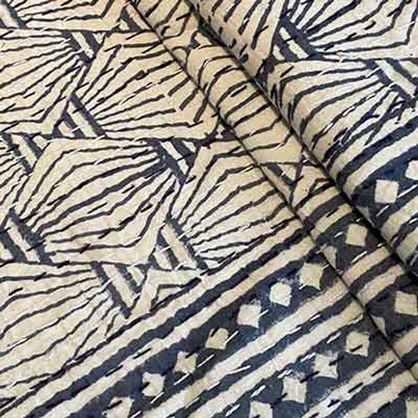 detail of the charcoal blue block printing showing the lantern style print.