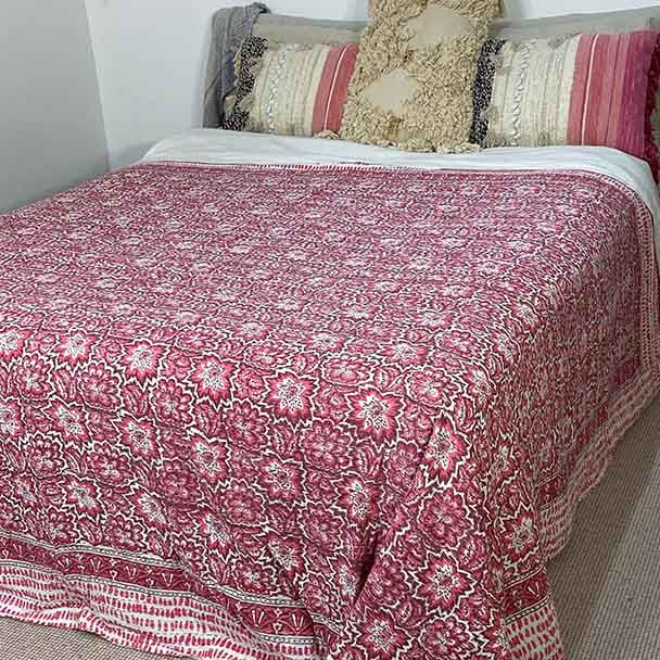 Kantha Quilt Queen Ati Sundar Pink Bloom