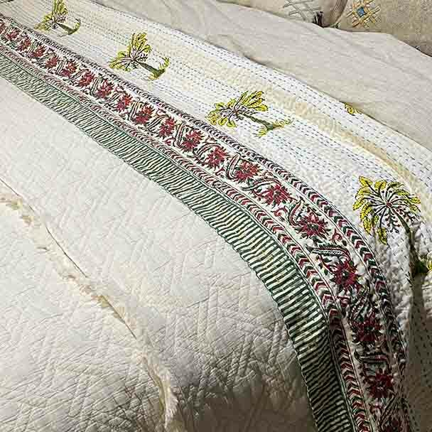 Kantha Quilt- Cotton Palm Tree Quilt - Citrus - Yummy Linen