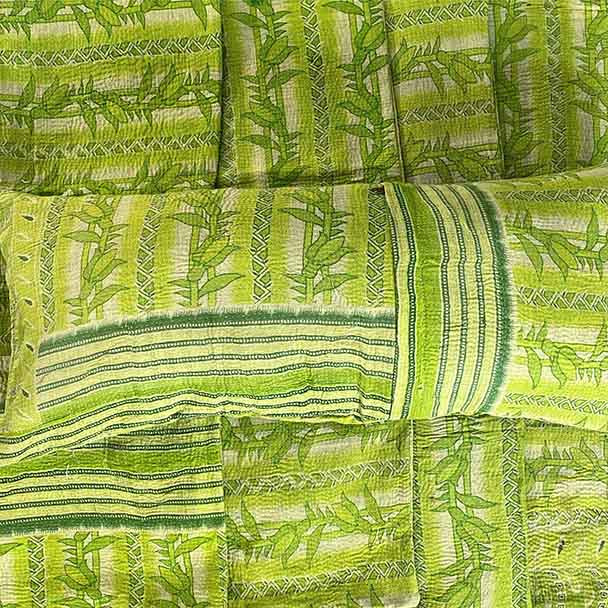 Bamboo print green vintage cotton kantha stitched lumbar pillow, yoga pillow, throw pillow cover.  Long and narrow a standard pillow folded in half lenght ways will fit this cover. Only 1 left in stock.