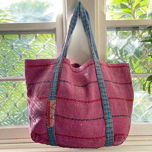Pink Vintage cloth Kantha hand stitched tote bag. Very soft and floppy. Also big and roomy.