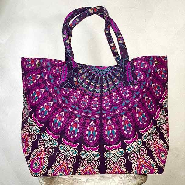 Mandala Cotton Ladies Tote Handbag Purple