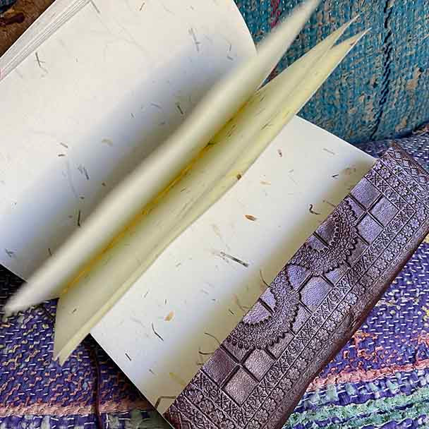 Showing the hand made recycled paper with flecs of petals on each page.