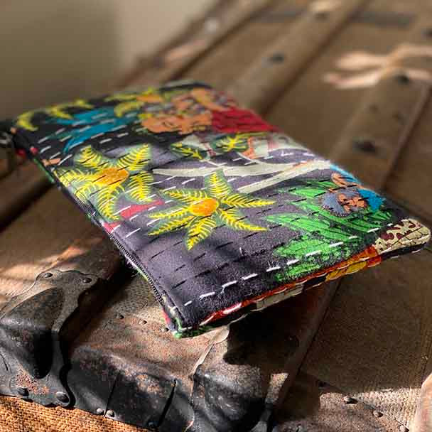 Frida Kahlo bright print design cotton Kantha pouch, on a black background