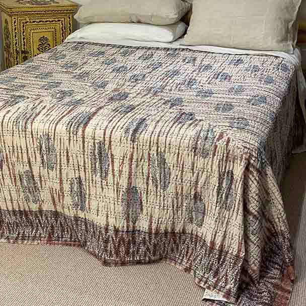 Tye-dyed Kantha Quilt Cotton - Rust