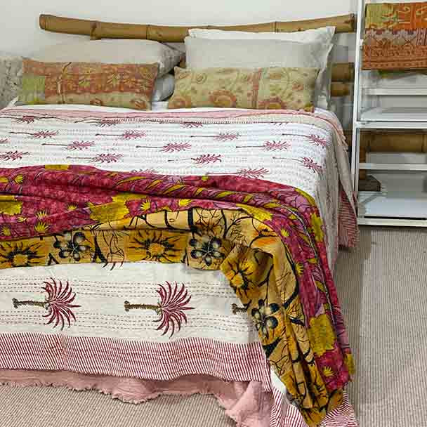 Pink and Red Palm Tree Kantha Quilt - Yummy Linen