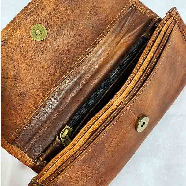 Showing the internal pocket pockets and zippered compartment for coins, as well as 6 card pockets.
