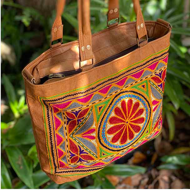 Tan Leather Embroidered Tote Bag - Yummy Linen