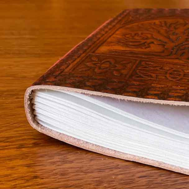 the 144 pages are bound with leather binding.
