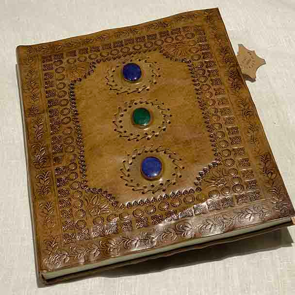 Leather Bound Artists Journal 13 x 10 inches -Yummy Linen