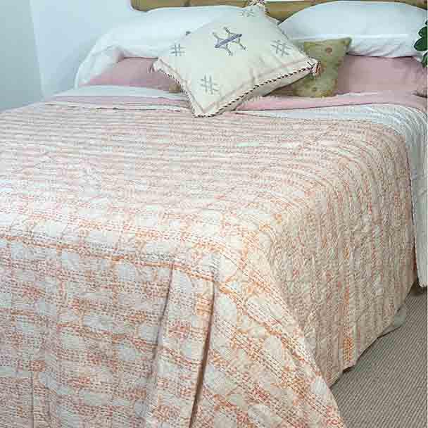 Apricot Block Print Kantha Quilt Queen/King